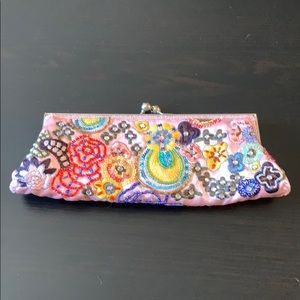 Bead embroidered coin purse style clutch